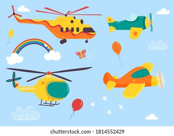 Funny kids air transport set. Helicopters, biplane, parachutist cartoon vector illustration isolated on blue background