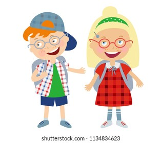 Funny kids: boy and girl, vector painted characters of a small schoolboy wearing glasses and with a backpack and schoolgirls, children's illustration