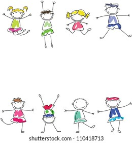 Funny kids, Cartoon characters background template