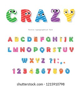 Funny kids font with eyes. Cartoon glossy colorful letters and numbers.