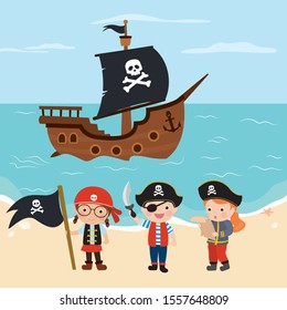 Funny kids pirates. Cartoon children characters. Cute preschoolers dressed in pirate costumes. Humans on tropical beach. Wooden pirate ship on background. Flat vector illustration