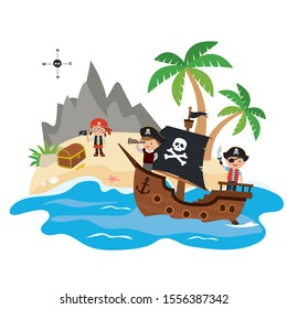 Funny kids pirates on a pirate ship. Treasure island. Wooden corsair sailboat. Cartoon children characters. Tropical ocean landscape. Flat vector illustration