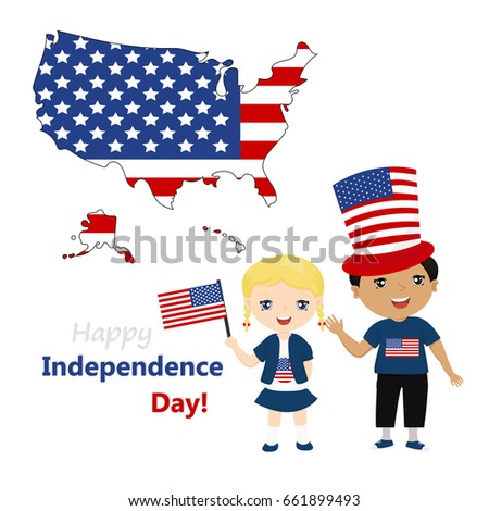 Funny Kids Us National Symbolism Independence Stock Vector Royalty