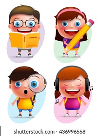 Funny kids vector characters colorful collection reading book, writing, exploring and listening music isolated in white background. Vector illustration