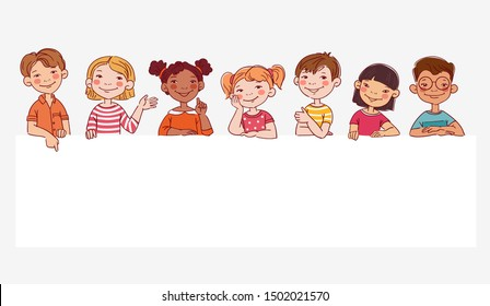 Funny kids. Vector cute boys and girls collection. Multi-ethnic group of happy children. Different cartoon faces icons