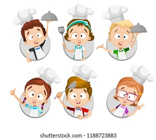 Funny kids in white chef hats and aprons set. Happy kids cooking at kitchen avatar icons. Kids cooking classes advertising symbols. Little chef personages with kitchen utensils vector illustration