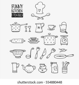 Funny kitchen utensils set made of pan, tumbler glass, pitcher, cup, rolling pin, plate, casserole, balance, flatware, soup ladle, knife, spoon,fork, teapot, mitten and colander