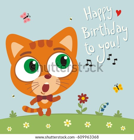 Funny Kitten Cat Sings Song Happy Birthday To You Greeting Card