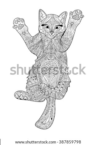 Funny Kitten Coloring Book Adults Zentangle Stock Vector