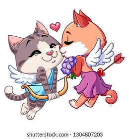 Funny kitten Cupid. Cupid cat kisses cupid cat. Valentine's day illustration. Cat Angel. Vector illustration in cartoon style. Isolated on white background