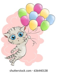 Funny kitten flying colored balloons