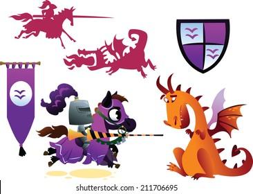 Funny Knight Riding a Horse and Cartoon Dragon