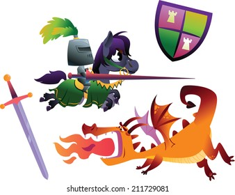 Funny Knight Riding a Horse and Cartoon Dragon