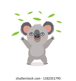 Funny Koala Bear With Green Leaves. Australian Animal Funniest Koala Cartoon Vector Illustration. Animal Of Australia. Free Hugs. Vector Illustration, Funny Baby Bear Koala, On A White Background.