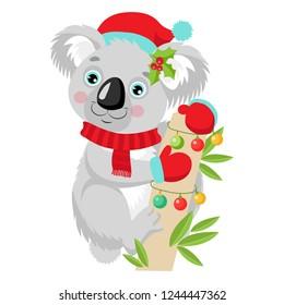 Funny Koala Christmas Vector. Merry Christmas From Australia. Cute Animal Cartoon Character Holiday Vector Illustration On A White Background. Koala In A Santa Hat Sitting On The Eucalyptus Tree.