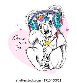 Funny Koala in a headphones with a rainbow unicorn horn. Humor card, t-shirt composition, hand drawn style print. Vector illustration.
