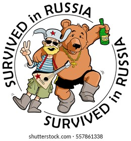"Funny Label: ""Survived in Russia"". Drunk Tourist with Friendly Russian Bear. Colorful Caricature about Stereotypes. Vector Illustration"