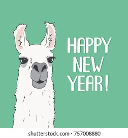 Funny Lama Alpaca portrait with color background. Greeting card with hand written Happy New Year. Cute vector animal illustration for design your flayer, poster, sign, banner, t-shirts, cases and etc.