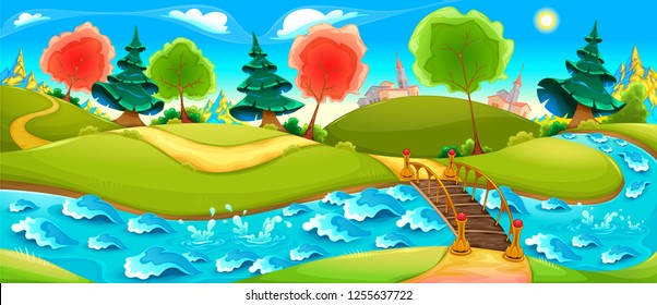 Funny landscape with river, trees and town on the horizon. Vector cartoon illustration