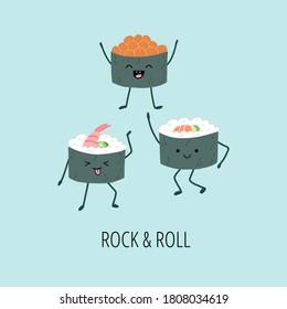 Funny laughing and dancing kawaii sushi. Cute kawaii maki roll with avocado, salmon, shrimp and salmon caviar. Nice card concept. Vector hand drawn character.