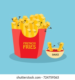 Funny laughing French fries character with eyes, legs, and a wide smile. French fries character with ketchup isolated on blue background.
