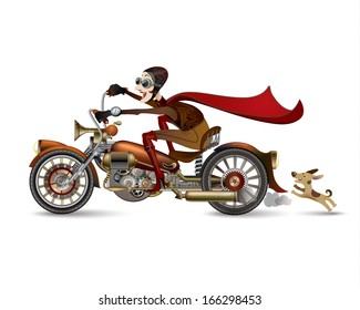 Funny laughing woman riding on a motorcycle. Steampunk