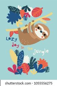 Funny lazy sloth vector illustration