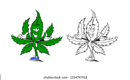Funny leaf of hemp is smiling. Cartoon character isolated. Vector illustration.