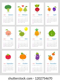 Funny leafy calendar 2019 with happy cartoon vegetables and fruits characters. Week starts on Sunday