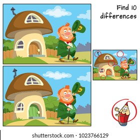 Funny leprechaun goes for a walk. Find 10 differences. Educational game for children. Cartoon vector illustration