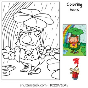 Funny Smiling Flower Flowerpot Coloring Book Stock Vector (Royalty ...