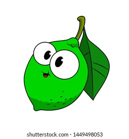 Funny Lime in a cartoon style. Concept Fruits and vegetables. Summer.