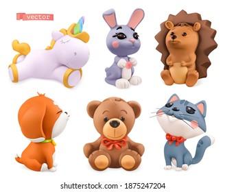 Funny little animals. Unicorn, bunny, hedgehog, dog, bear, cat. 3d vector icon set