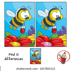 Funny little bee with a bucket flying for honey. Find 10 differences. Educational game for children. Cartoon vector illustration