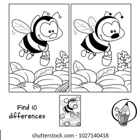 Funny little bee with a bucket flying for honey. Find 10 differences. Educational game for children. Black and white cartoon vector illustration