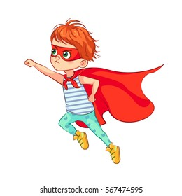 Funny little boy flies through the air in a classic Super hero pose with outstretched hand. Vector kid in super hero costume with a red mask on his face and with tied around the neck red cape.