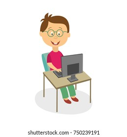 Funny little boy in glasses working, studying, playing on desktop computer, cartoon vector illustration isolated on white background. Teenage boy using, studying, playing on computer