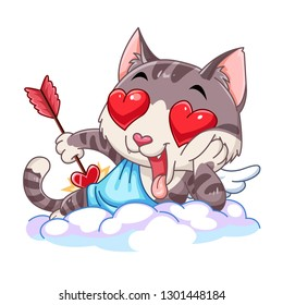 Funny little cat cupid. Cupid cat with a bow and arrow. Illustration of a Valentine's Day. Cat angel. Vector illustration in a cartoon style. Isolated on white background.