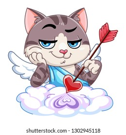 Funny little cat cupid. Illustration of a Valentine's Day. Cat angel.Cat Cupid with an arrow. Vector illustration in a cartoon style. Isolated on white background.