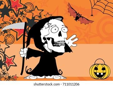 funny little chubby grim skull skeleton cartoon halloween background in vector format