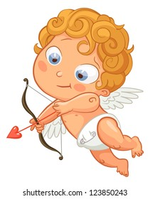 Funny little cupid aiming at someone. Illustration of a Valentine's Day. Vector. Isolated on white background