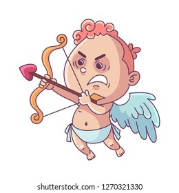 Funny little Cupid aiming at someone with an arrow of love. Cute little cupid shoots a bow. Illustration of a Valentine's Day. Vector illustration in a cartoon style. Isolated on white background.