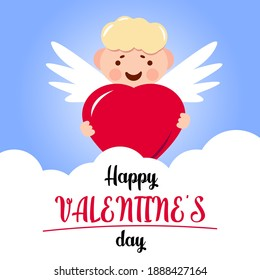 Funny little cupid aiming at someone. Illustration of a Valentine's Day. Vector.