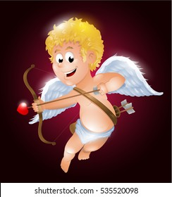 Funny little cupid aiming at someone. Illustration of a Valentine's Day background
