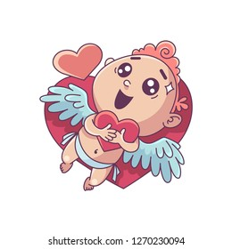 Funny little cupid holding heart. Illustration of a Valentine's Day. Vector illustration in a cartoon style. Isolated on white background.