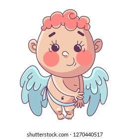 Funny little cupid. Illustration of a Valentine's Day. Vector illustration in a cartoon style. Isolated on white background.