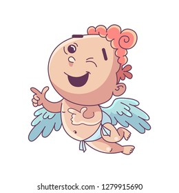 Funny little cupid. Illustration of a Valentine's Day. Amur baby angel.Vector illustration in a cartoon style. Isolated on white background.