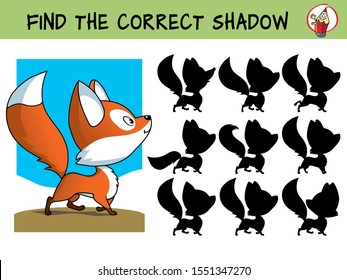 Funny little fox. Find the correct shadow. Educational matching game for children. Cartoon vector illustration