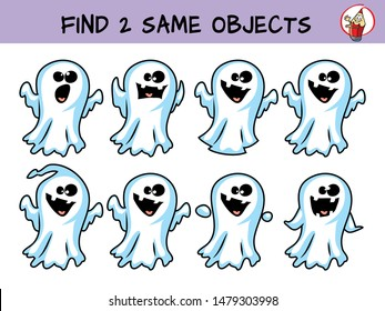 Funny little ghosts. Find two same pictures. Educational game for children. Cartoon vector illustration