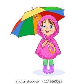 A funny little girl in a pink raincoat holds a bright multi-colored umbrella. Vector cartoon сutout child.